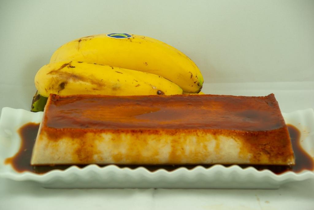 Flan de Plátano con pasas